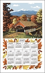 F3221 Calendar Towel, Fall Covered Bridge, 17
