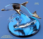 S4 287G-B Glass Baron Dolphin On Glass Base 2-3/4