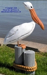 3750110 White Pelican On Pilings, Carved Wood, 35