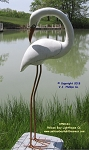 3750141 Small White Heron Looking Back, On Stand, Carved Wood