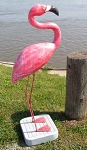3750190 Large Pink Flamingo on Stand, Carved Wood, 50
