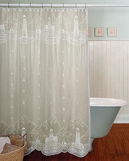 "Lighthouse Shower Curtain,  72""x72"" White, By Heritage Lace"