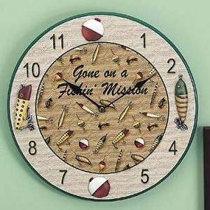 "Gone Fishin' Clock 12-1/4"" Diameter"