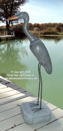 "3750121 Small Blue Heron on Stand, Carved Wood, 39"" Tall"